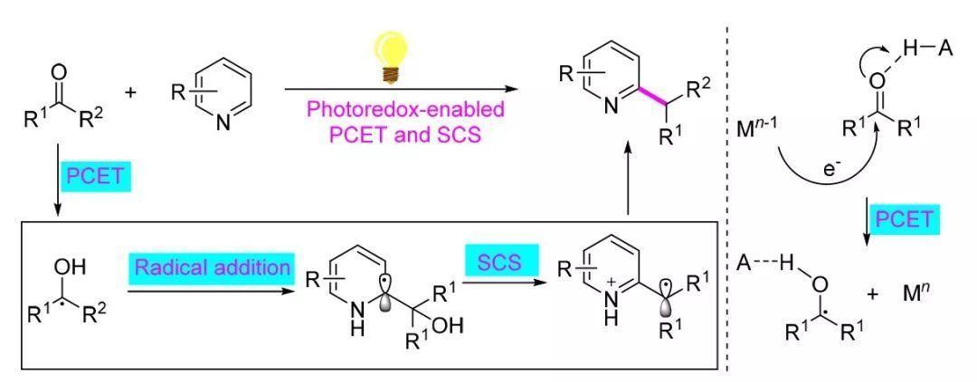 醛或酮脱氧对氮杂芳环碳氢键的直接烷基化