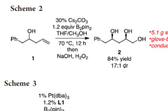 JACS羟基导向的烯烃立体选择性二硼化